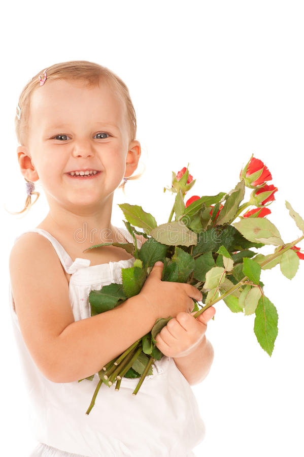 Free Little Girl Holding A Bouquet Of Red Roses Royalty Free Stock Photography - 21354297