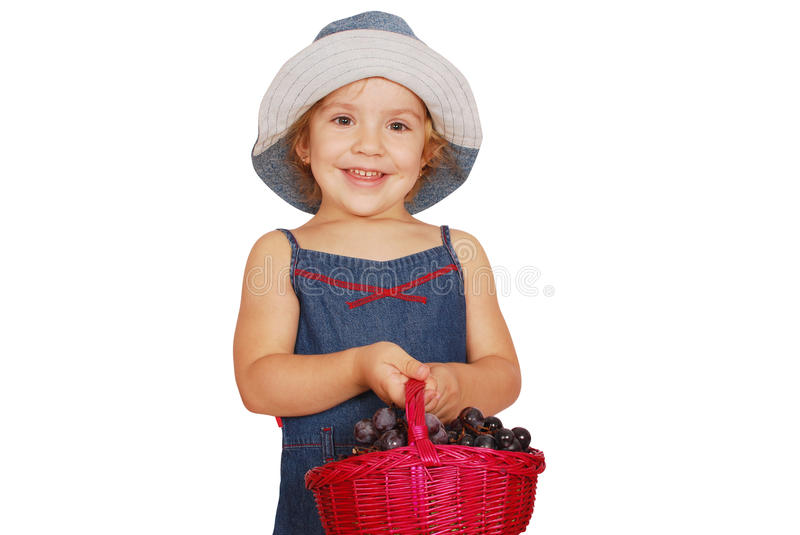 Little Girl Holding Basket With Grape Royalty Free Stock Photo