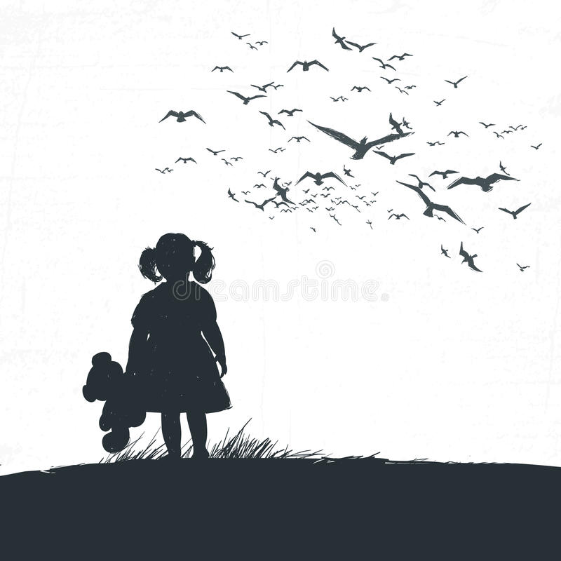 Little girl is holding a bear in her hand and looking into the distance. vector illustration