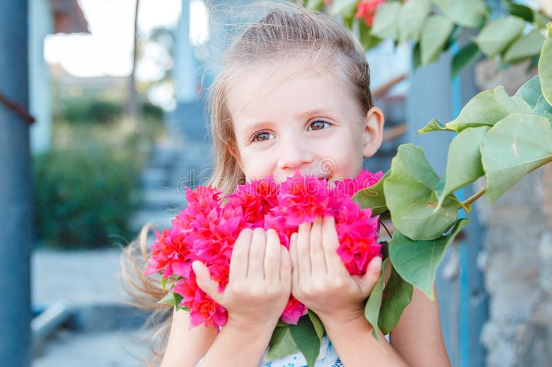 Little girl is holding beautiful pink flowers. bougainvillea stock image