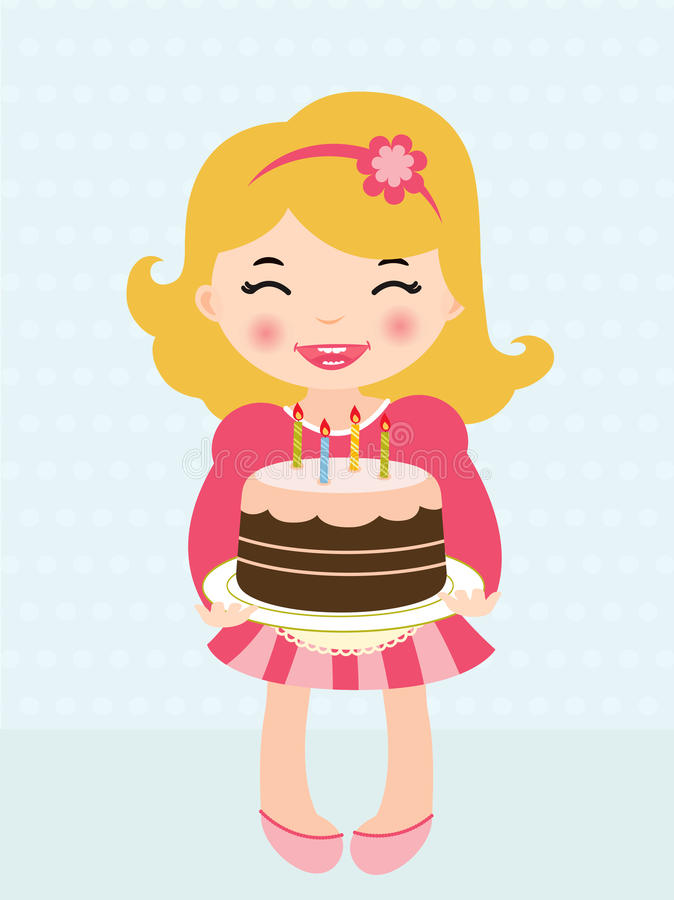 Download Little Girl Holding A Birthday Cake Stock Vector - Illustration: 23594232