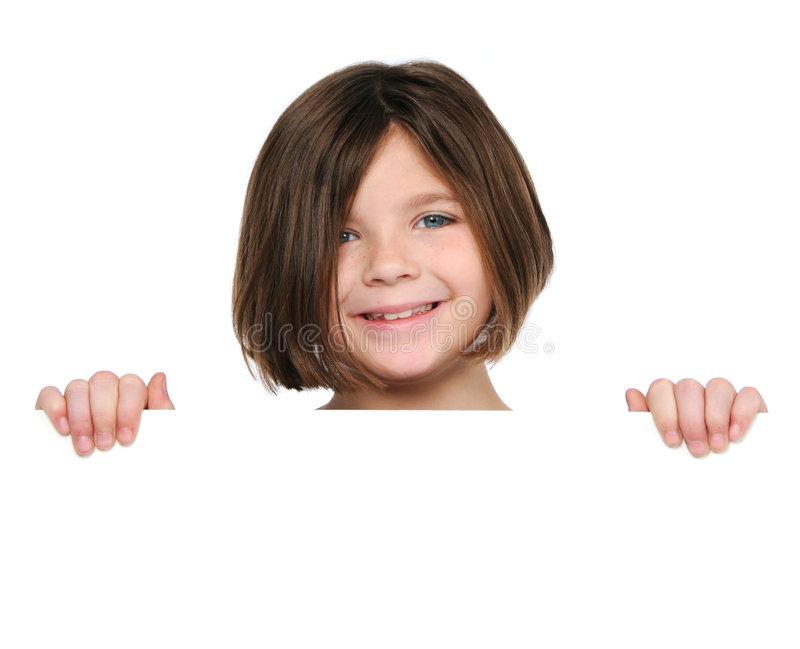 Little girl holding blank sign. Isolated on white stock images
