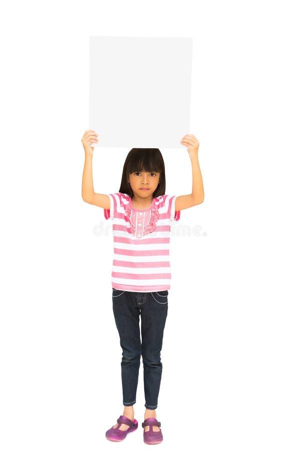Little girl holding a board