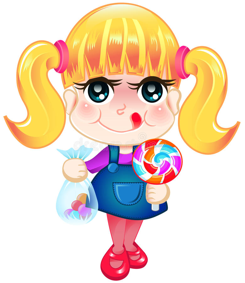 Download Little Girl Holding Candies Stock Illustration - Image: 27904537