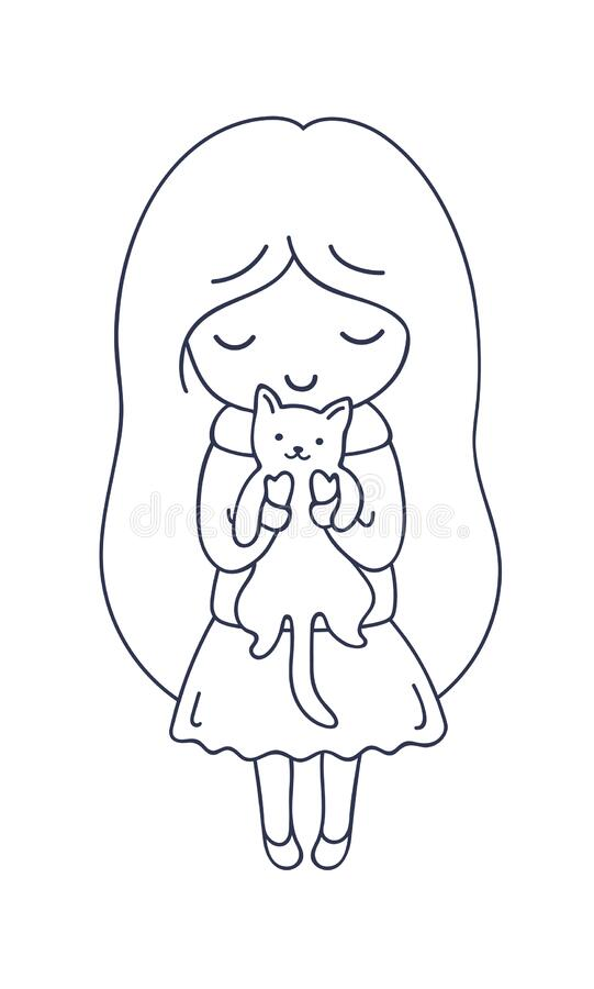 Girl With Cat. Cute Cartoon Character. Vector Illustration For Coloring Book,  Pin, Sticker, Patch, Badge, Print, Card Stock Vector - Illustration Of  Kawaii, Hands: 180913830