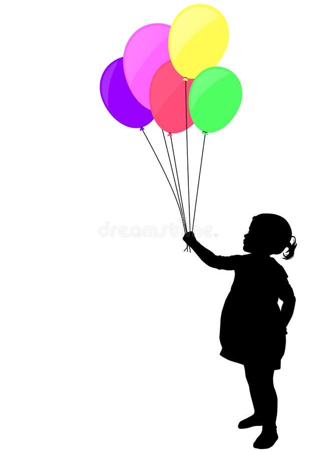 Little girl holding colorful balloons silhouette vector illustration