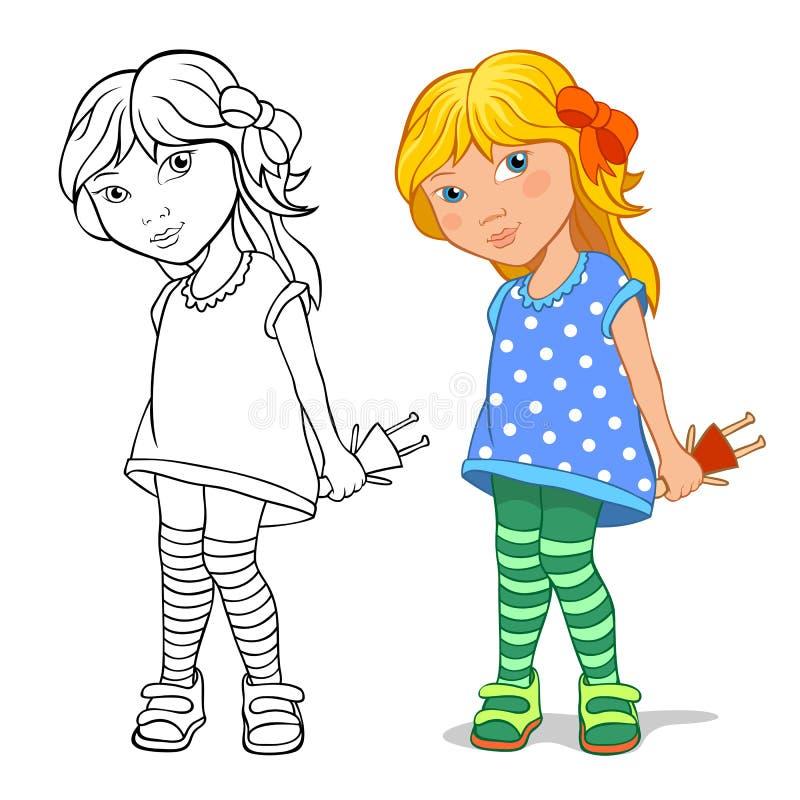 Little girl holding a doll stock illustration