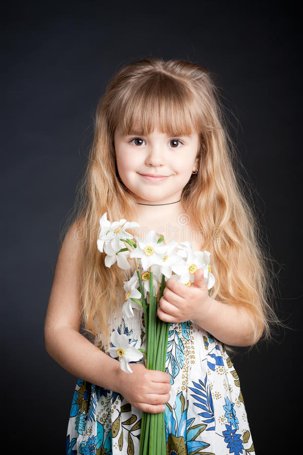 Download Little Girl Holding Flower stock image. Image of beautiful - 14181809