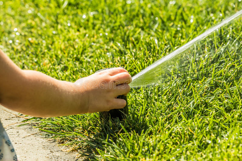 Little girl holding during irrigation, spray royalty free stock image