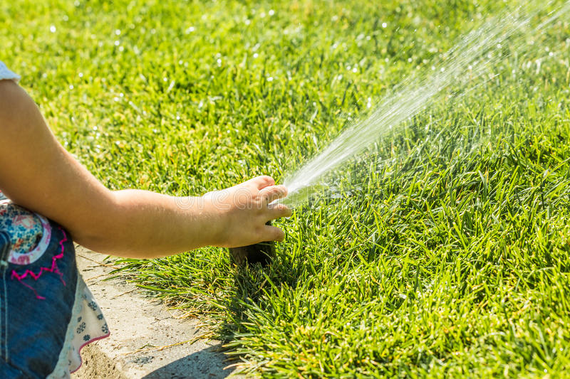 Little girl holding during irrigation, spray royalty free stock images