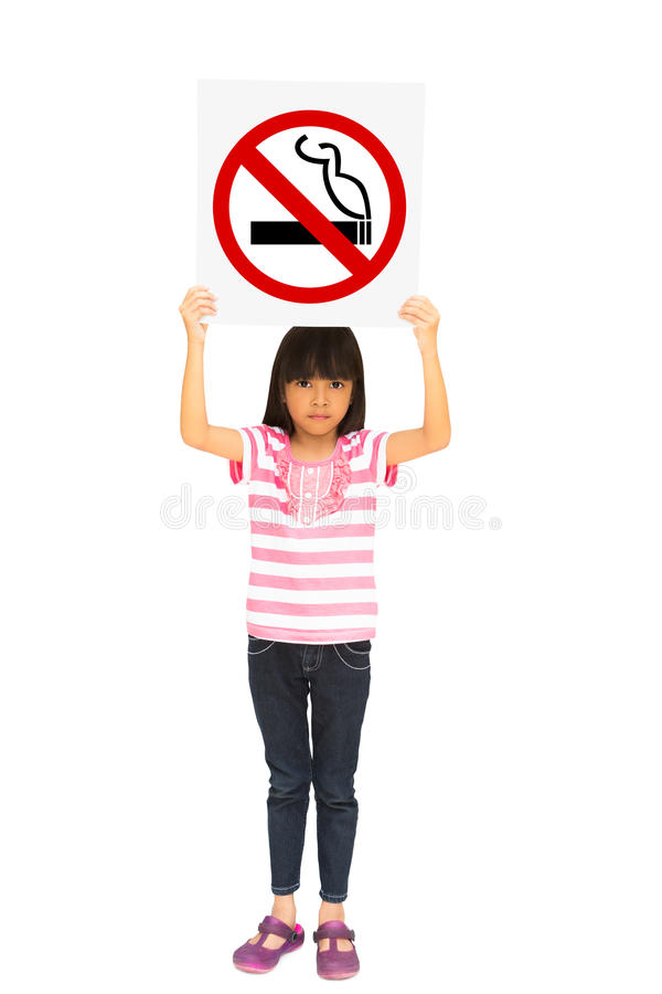 Little Girl Holding A No Smoking Sign Royalty Free Stock Photos