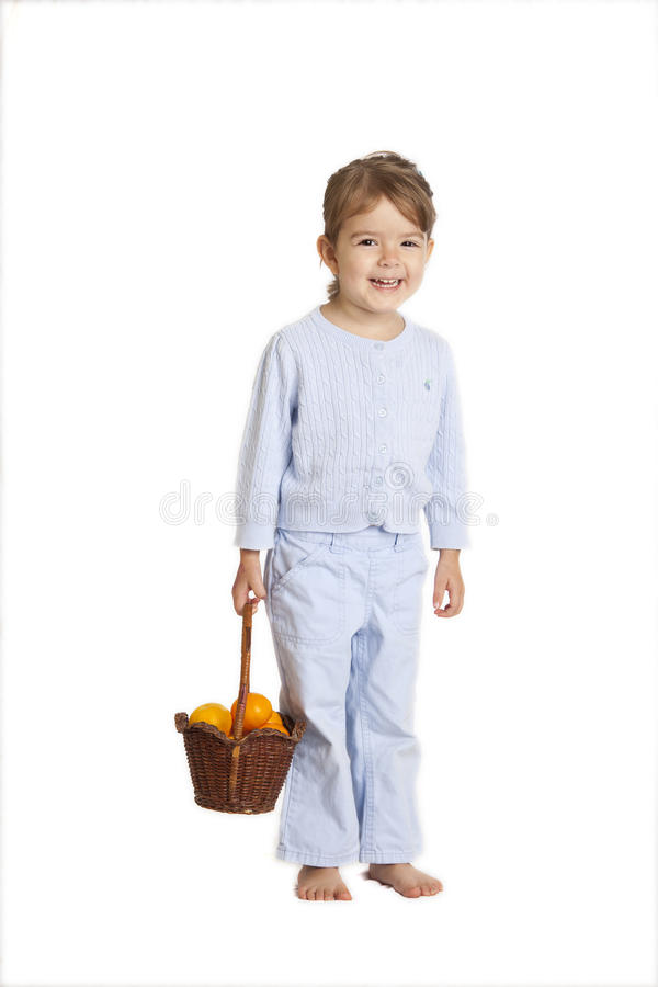 Download Little Girl Holding Oranges, Clipping Path Stock Photo - Image: 27915158