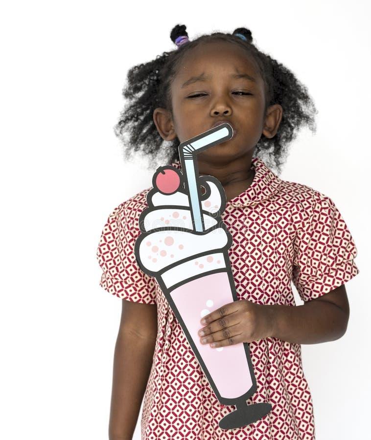 Little Girl Holding Papercraft Arts Drinks Studio Portrait stock image