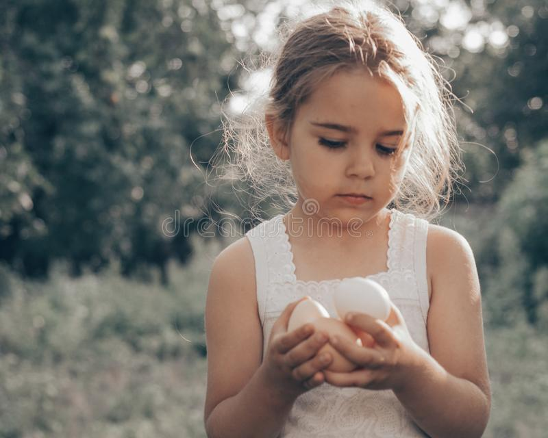 Little girl holding and picking good eggs quality organic and bring to the eye on the farm. Healthy foods. Easter. royalty free stock photos