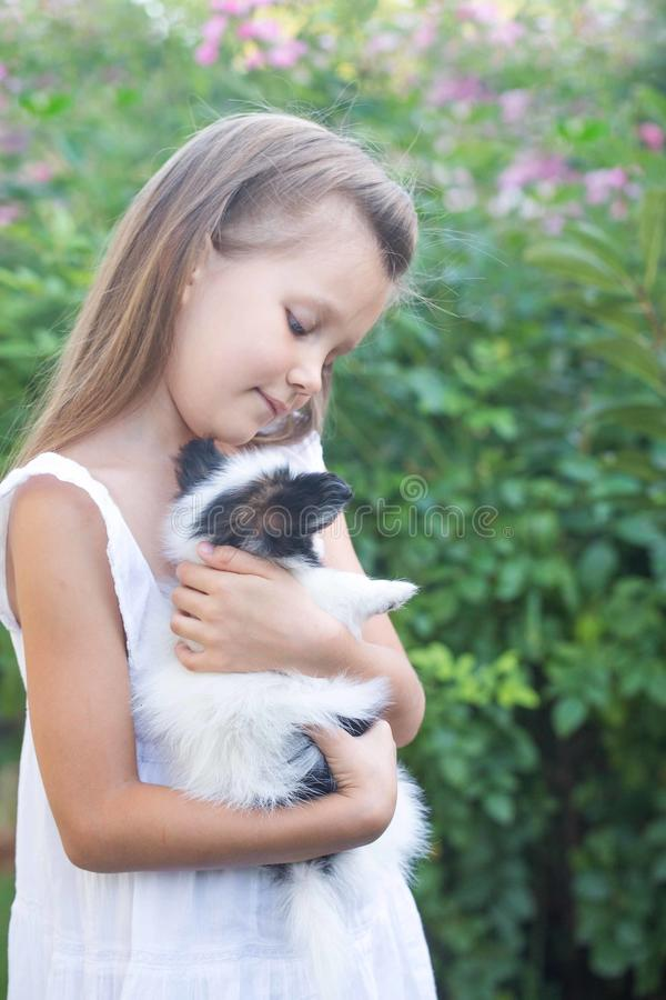 Little girl holding a puppy. In her arms in the garden stock photos