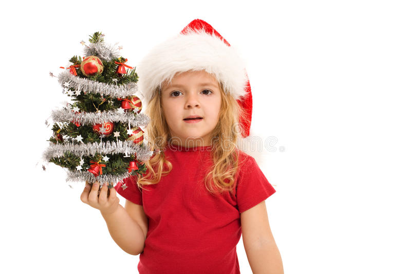 download little girl holding small decorated christmas tree stock photo image 11879570 - Small Decorated Christmas Trees