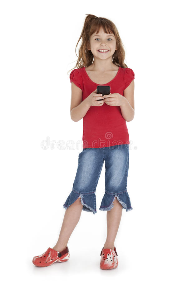 Little Girl Holding Smartphone royalty free stock photo
