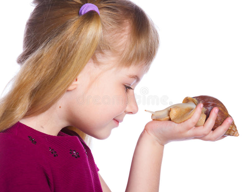 Little girl holding snails in hands. Portrait of little girl holding snails in hands. Isolated on the white background stock photos
