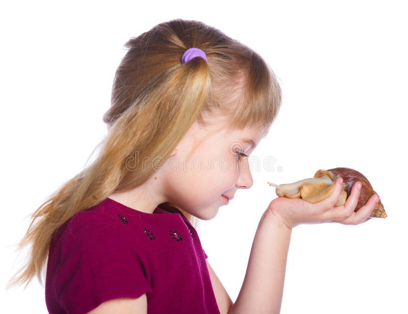 Little girl holding snails in hands. Portrait of little girl holding snails in hands. Isolated on the white background stock image