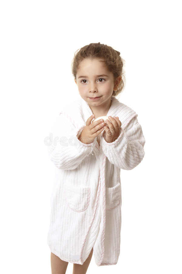 Little girl holding soap stock images