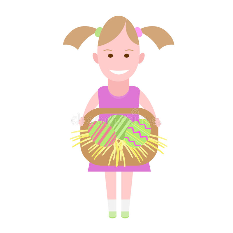Download Little Girl Holds A Basket With Easter Eggs Stock Vector - Image: 34513270