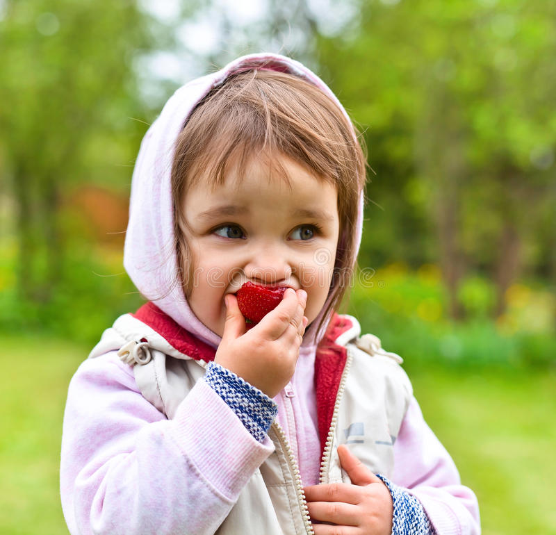 Little girl in a hoodie eating strawberries stock photos