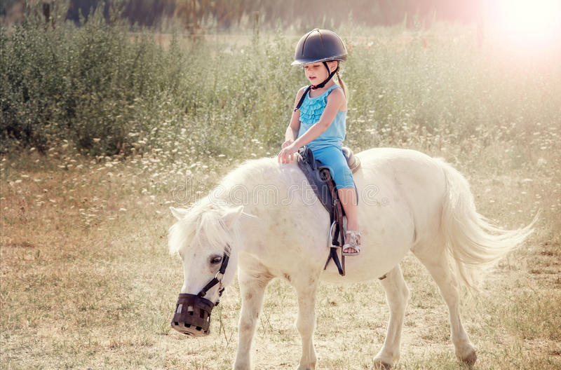 Little girl on the horse. stock photography