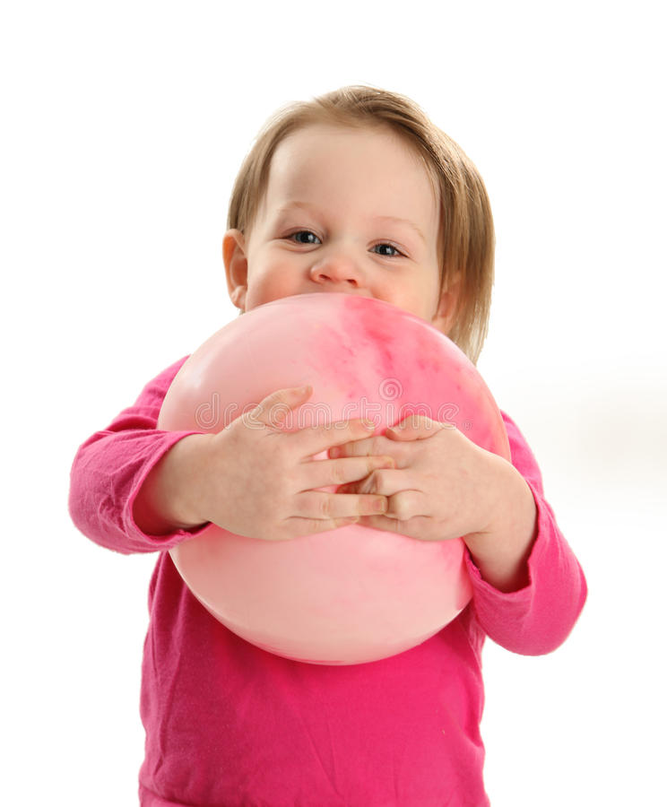 Download Little Girl Hugging A Ball Stock Image - Image: 30367401