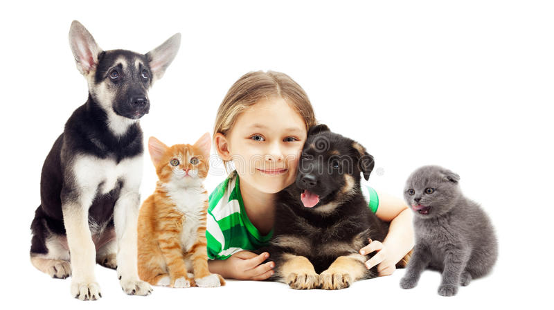 Little girl hugging puppy and kitten royalty free stock photography