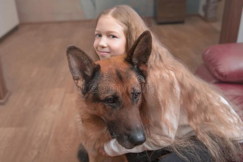 Little girl hugs a friendly big dog. royalty free stock photos