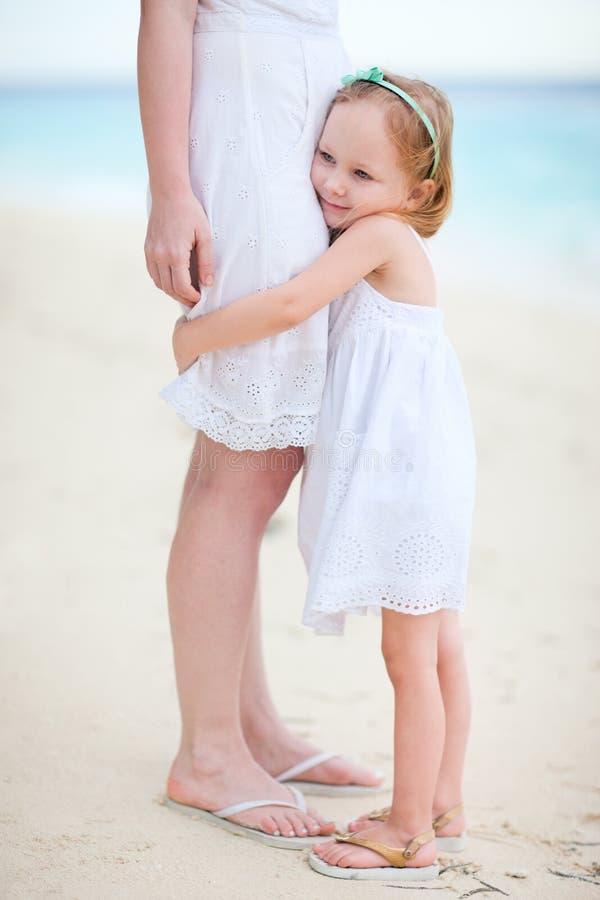 Little girl hugs her mom