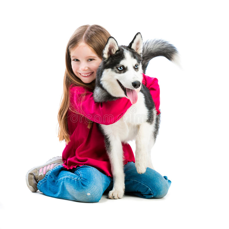 Little girl is with husky dog royalty free stock images