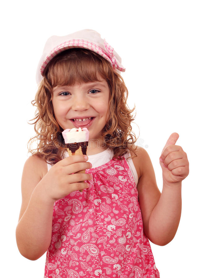 Little Girl With Ice Cream And Thumb Up Stock Photos