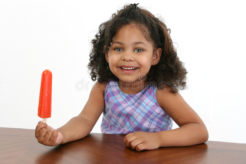Little Girl with Icepop stock image