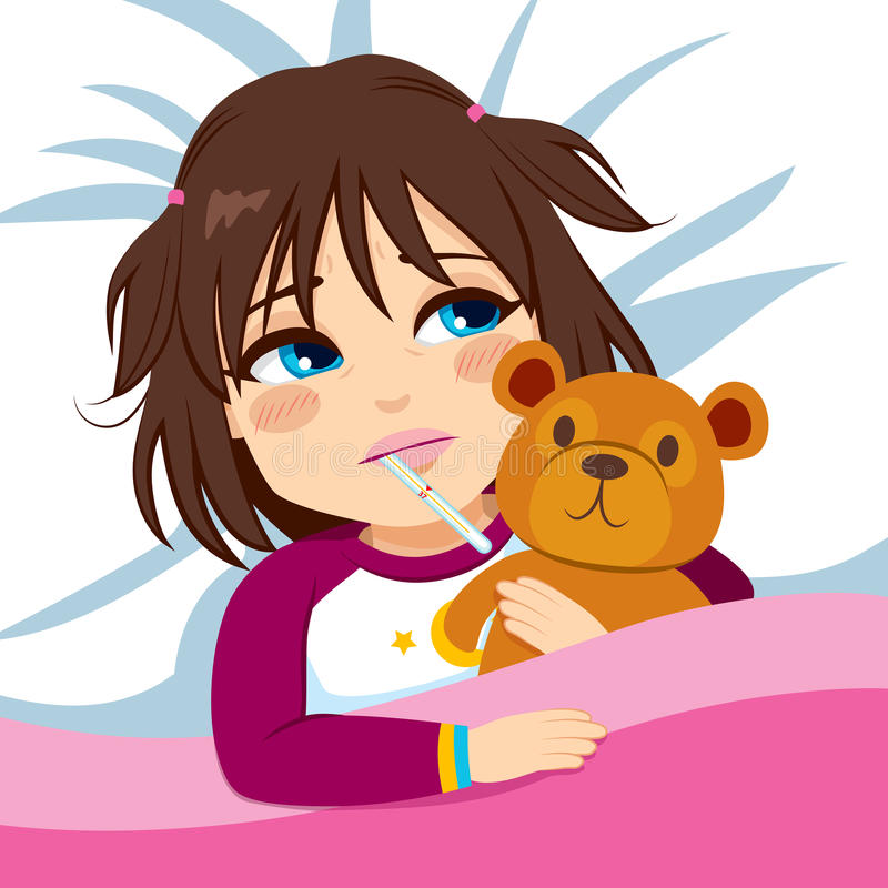 Little Girl Ill In Bed. With thermometer and hugging teddy bear stock illustration