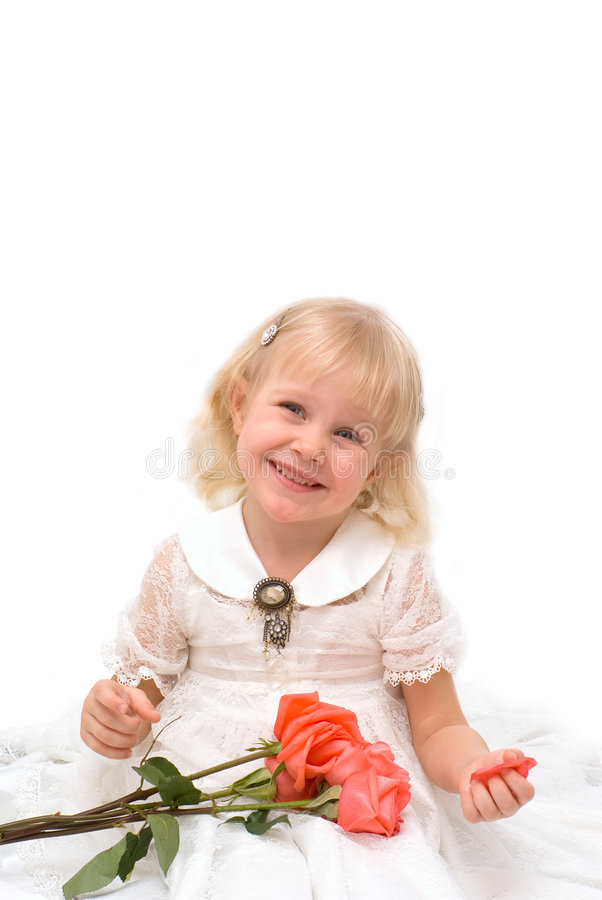 Free Little Girl In A Beautiful White Dress Stock Photography - 8600072