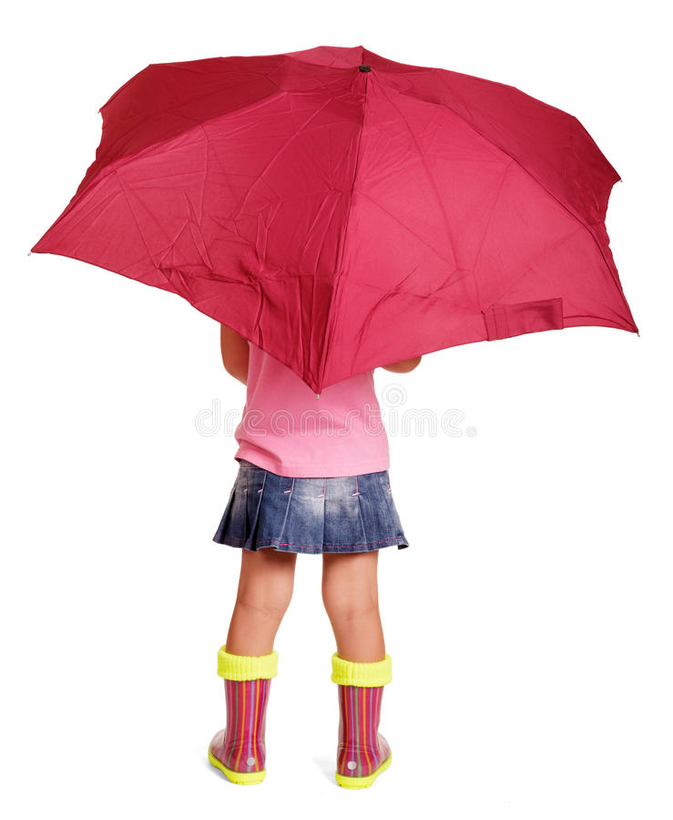 Free Little Girl In Blouse, Skirt, Rubber Boots With Umbrella Standing. Royalty Free Stock Images - 80266979