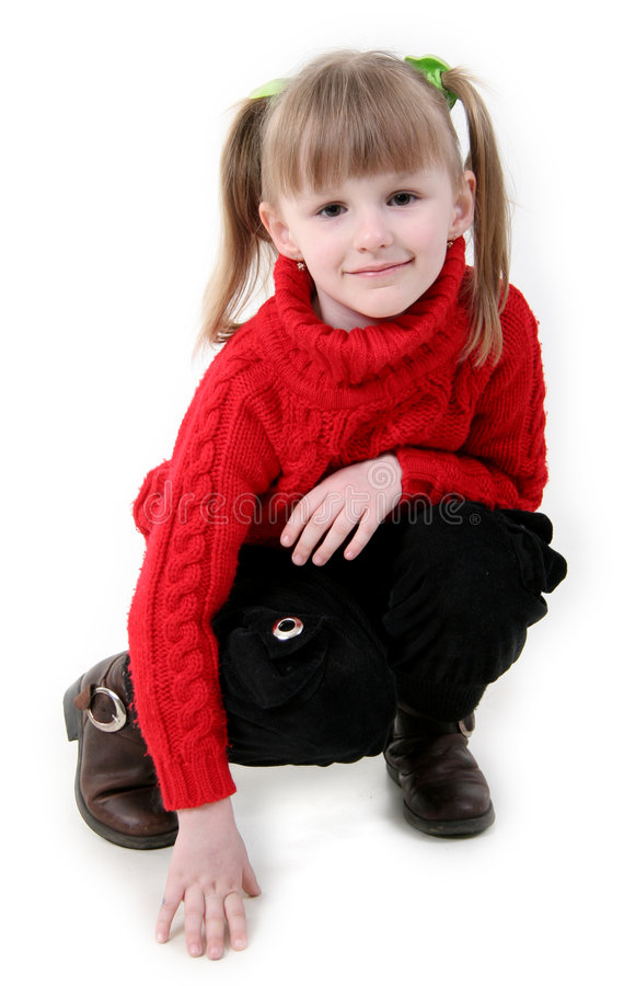 Free Little Girl In Red Cardigan Royalty Free Stock Image - 4685546