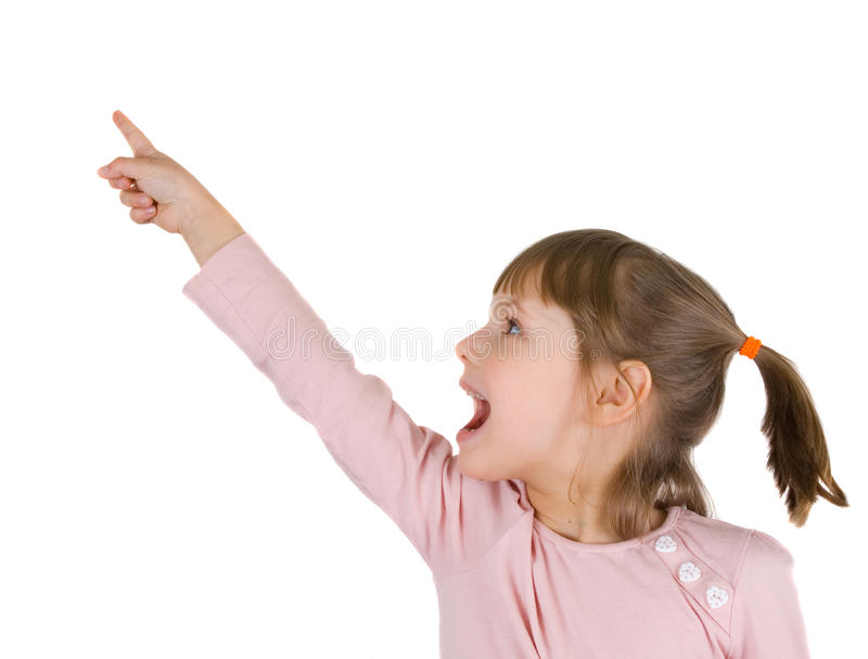 Little girl with index finger up royalty free stock photography