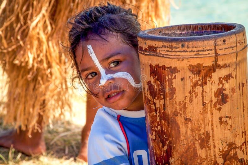 Little girl on Isle of Pines, New Caledonia stock image