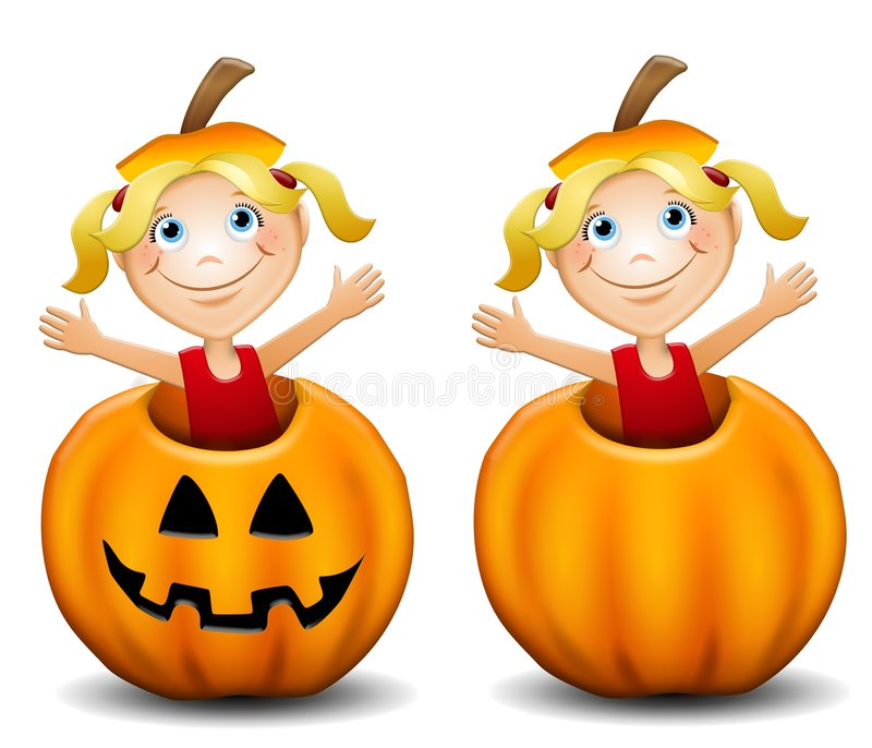 Little Girl in Jack O Lantern. An illustration featuring a cute little girl inside a jack-o-lantern wearing the stem on her head. An extra version is with her stock illustration