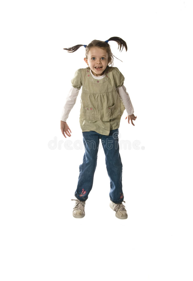 Download Little girl jumping stock photo. Image of jeans, acting - 7469896
