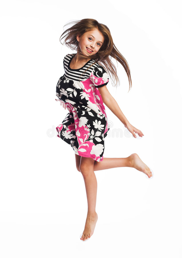 Download Little girl jumping of joy stock image. Image of mouth - 5303155