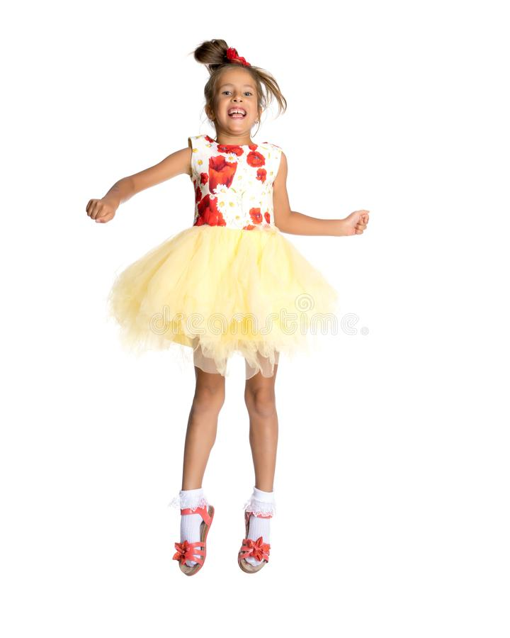 Little girl is jumping. royalty free stock photos