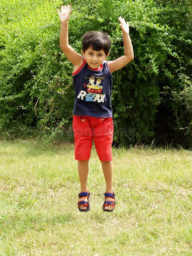 Download Little girl jumping up stock image. Image of active, childhood - 3135495