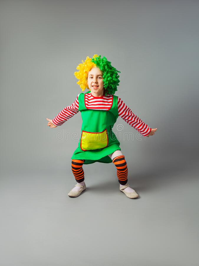 Clown Jumps On A Skipping Rope Stock Image - Image of