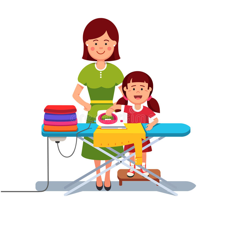 Little girl kid helping her mother ironing clothes vector illustration
