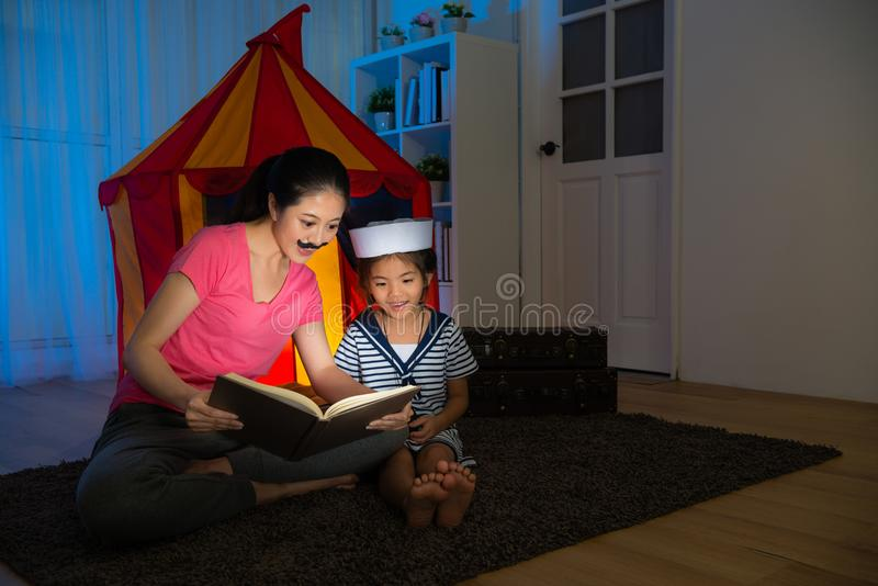 Little girl kid sailor with her beautiful mother stock photography