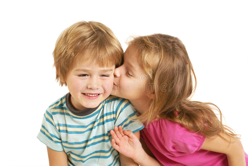 Little girl kiss a little boy stock image image of expression cute little children kissing isolated on white thecheapjerseys Gallery