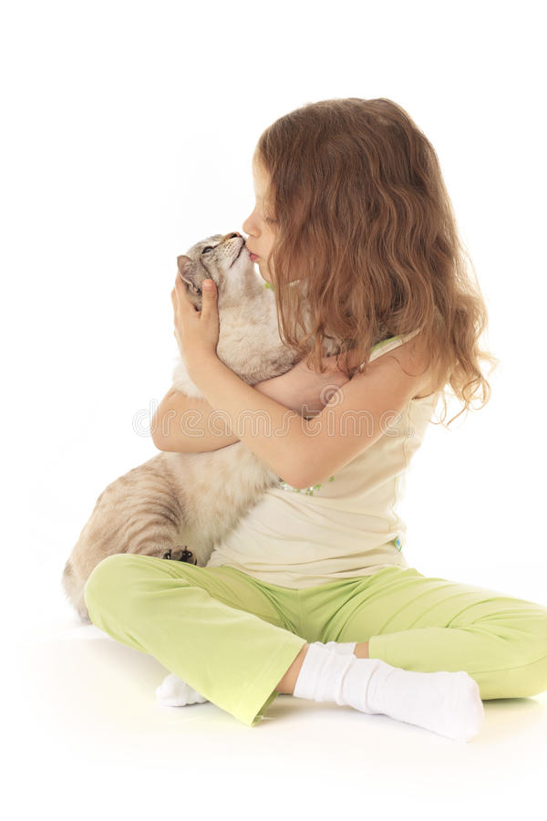 Little girl kisses cat. Little girl kisses her cat royalty free stock photo